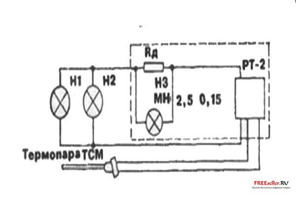 Прибор срабатывает, загорается контрольная лампочка на 2,5В, указывая на исправность...  Рис.3. Электрическая схема...